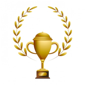 Trofeo d'oro con laurel whreat