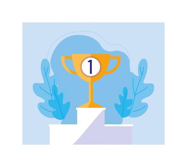 Trofeo d'oro sul podio, business di successo