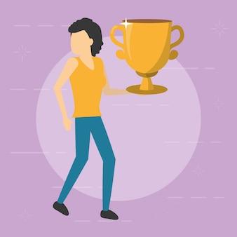 Trofeo dell'oro della tenuta della donna di affari, stile piano