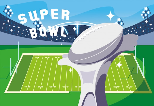 Trofeo di super bowl davanti all'illustrazione della tribuna