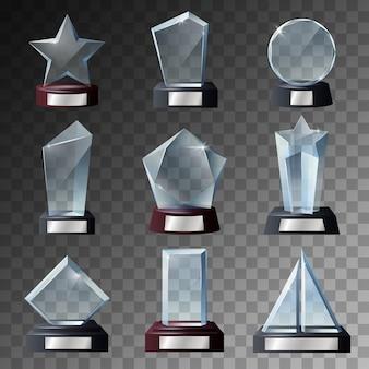 Trofeo di vetro e modelli di riconoscimento su basi