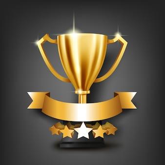 Trofeo dorato realistico con il posto per testo sul nastro d'oro