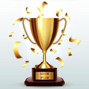 Trofeo dorato realistico con lo spazio del testo