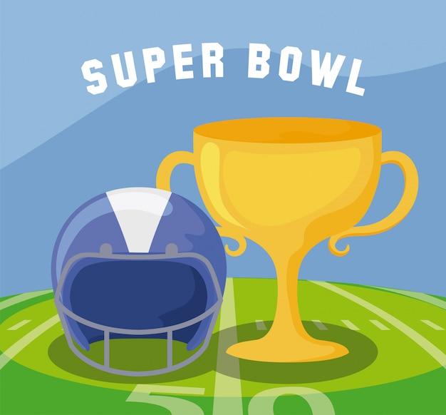 Trofeo e casco del super bowl sopra l'illustrazione del campo