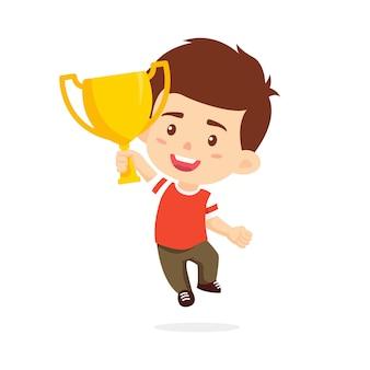 Trofeo in aumento dei bambini del ragazzo