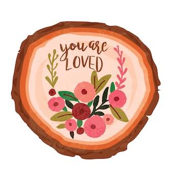 Tronco di amore astratto colorato con iscrizione