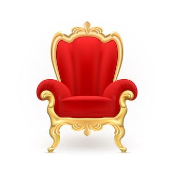 Trono reale, lussuosa sedia rossa con gambe dorate scolpite isolato su sfondo.