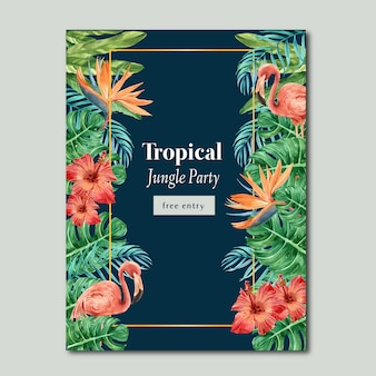 Tropical poster estate con piante fogliame esotici, acquerello creativo