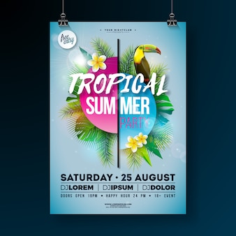 Tropical summer party flyer design con uccello fiore e tucano