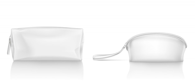 Trousse bianca con cerniera per il trucco