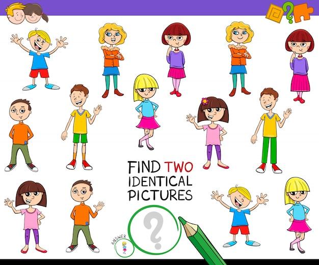 Trova due giochi di foto identiche con i bambini
