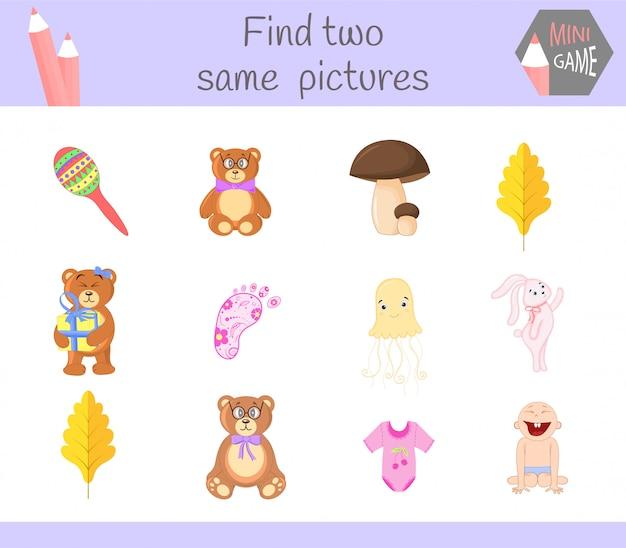 Trova due stesse immagini. attività educativa dell'illustrazione del fumetto per i bambini in età prescolare.