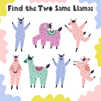 Trova gli stessi due lama. gioco di attività educative per i più piccoli. foglio di lavoro comparativo prescolare per bambini. illustrazione