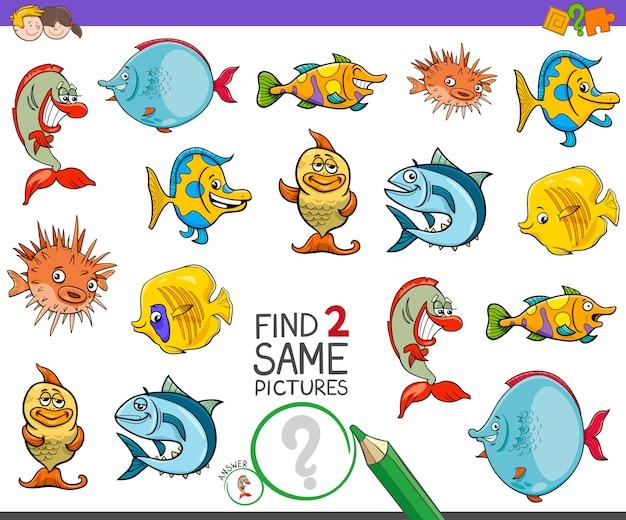 Trova il gioco di due personaggi di pesci per bambini
