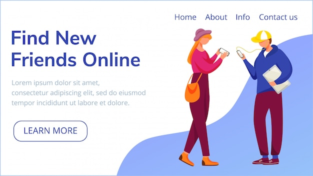 Trova il modello della pagina di destinazione online di nuovi amici.