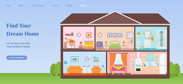 Trova il modello di progettazione della pagina web della casa dei sogni. illustrazione piatta.