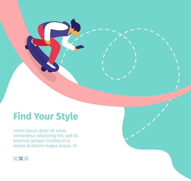 Trova il tuo banner quadrato stile. giovane uomo blogger ride skateboard con smartphone creazione di contenuti