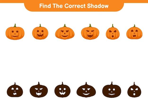 Trova l'ombra corretta, gioco educativo per bambini, foglio di lavoro stampabile, illustrazione