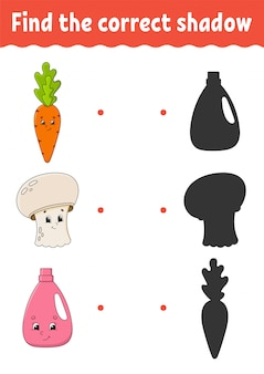 Trova l'ombra corretta. istruzione che sviluppa foglio di lavoro. gioco di abbinamento per bambini. pagina delle attività puzzle per bambini. riddle per l'età prescolare. personaggio carino illustrazione vettoriale isolato stile cartone animato