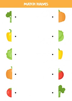 Trova la metà di ogni verdura. foglio di lavoro divertente per bambini.