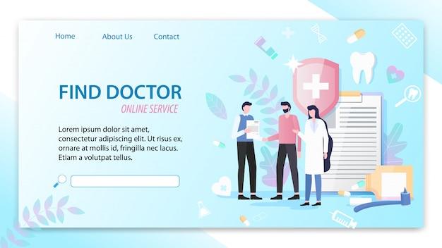 Trova la pagina di destinazione del servizio online doctor