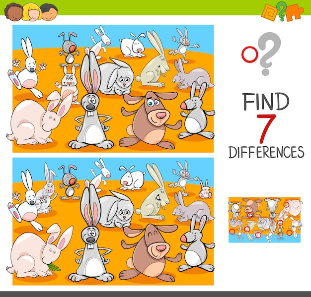 Trova le differenze con i caratteri animali dei conigli