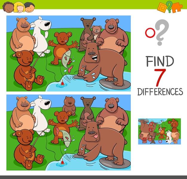 Trova le differenze con i personaggi animali degli orsi