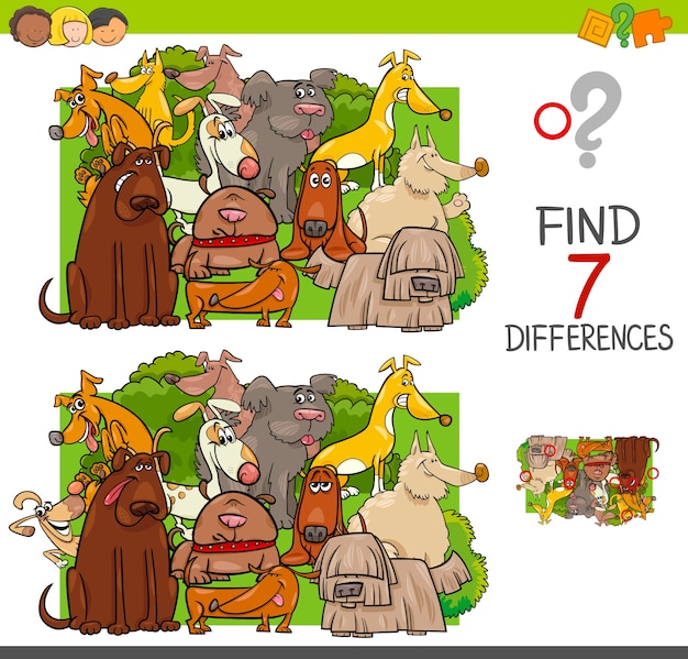 Trova le differenze con i personaggi animali dei cani