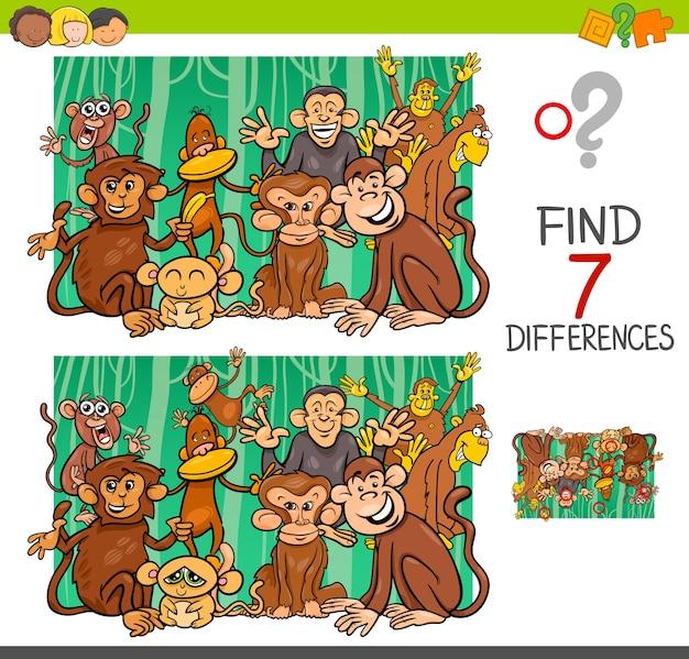Trova le differenze con i personaggi animali delle scimmie