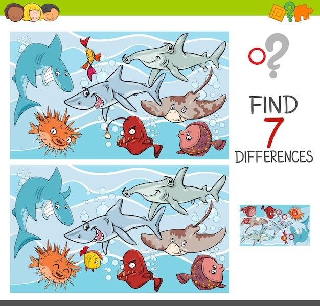 Trova le differenze con i personaggi dei pesci marini