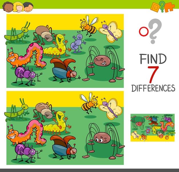 Trova le differenze con il gruppo di caratteri animali bug