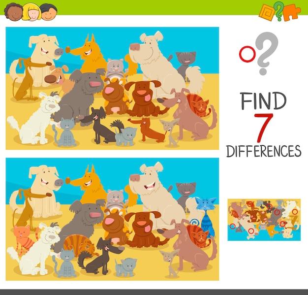 Trova le differenze di gioco con cani e gatti