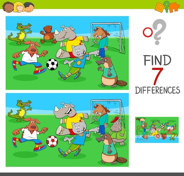 Trova le differenze di gioco con gli animali che giocano a calcio