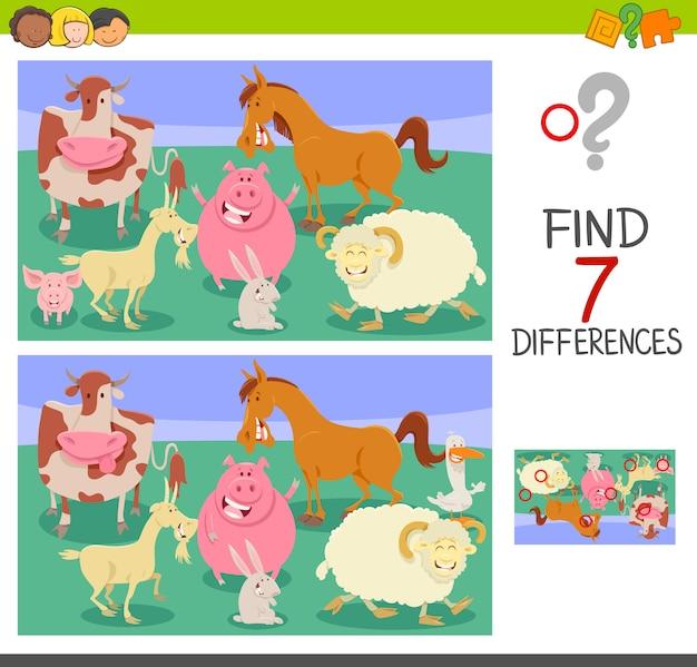 Trova le differenze di gioco con gli animali della fattoria