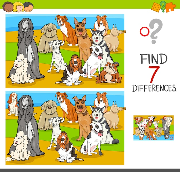 Trova le differenze di gioco con personaggi di animali di cane