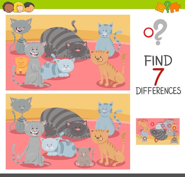 Trova le differenze di gioco con personaggi di gatto