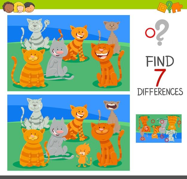 Trova le differenze di gioco di attività con i gatti