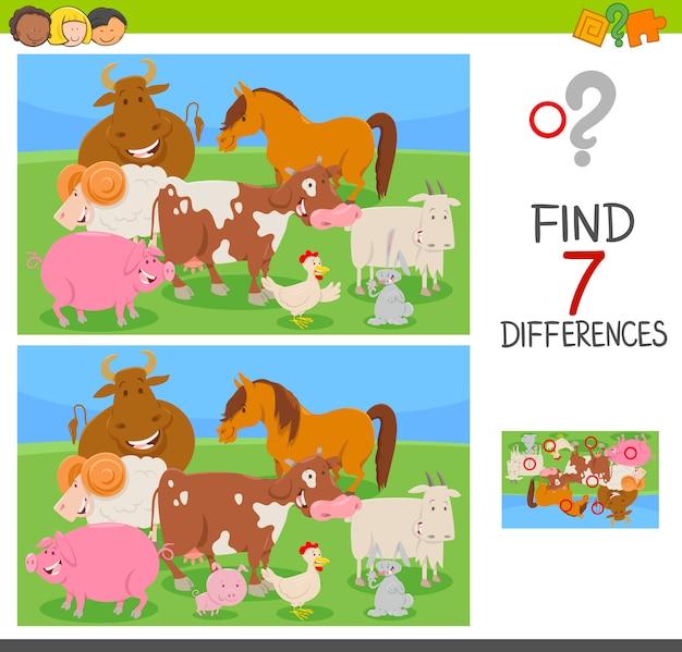Trova le differenze gioco con gli animali della fattoria