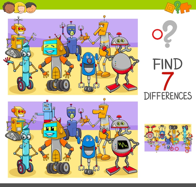 Trova le differenze gioco con personaggi robot