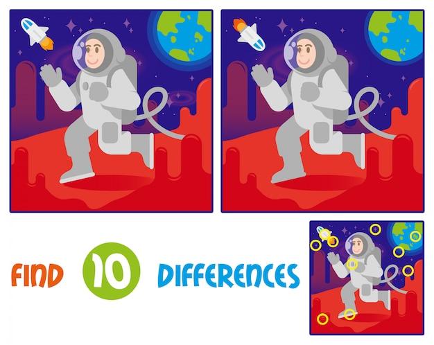 Trova le differenze gioco interattivo educazione logica per i bambini. giovane sorriso felice carino cosmonauta astronauta in tuta spaziale e casco a piedi, arrivato l'atterraggio su marte. pianeta rosso stelle blu della terra