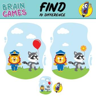Trova le differenze tra leone e procione, rifornimenti scolastici di giochi di cervello di poliziotto leone
