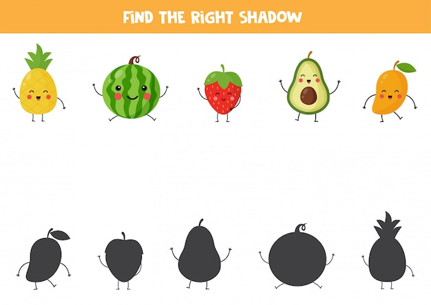 Trova ombre di simpatici frutti kawaii. gioco logico educativo per bambini. foglio di lavoro stampabile per bambini in età prescolare.