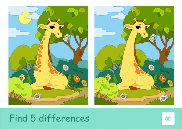 Trova un gioco per bambini a quiz con cinque differenze con l'immagine di una giraffa che mangia un fiore che siede in un bosco. animali selvatici, mammiferi ed erbivori illustrazioni per bambini in età prescolare e attività di sviluppo.