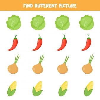 Trova un'immagine diversa in ogni riga. set di verdure colorate.