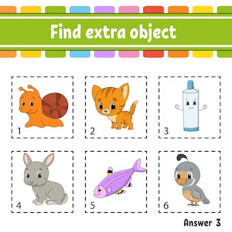 Trova un oggetto in più. foglio di lavoro per attività educative per bambini e neonati.