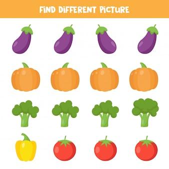 Trova verdure diverse in ogni fila. foglio di lavoro educativo per bambini.