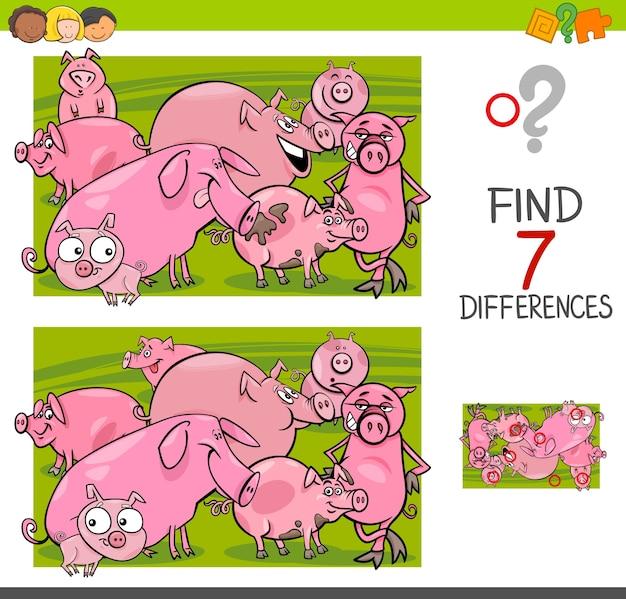 Trovare le differenze con i caratteri animali da allevamento di maiali