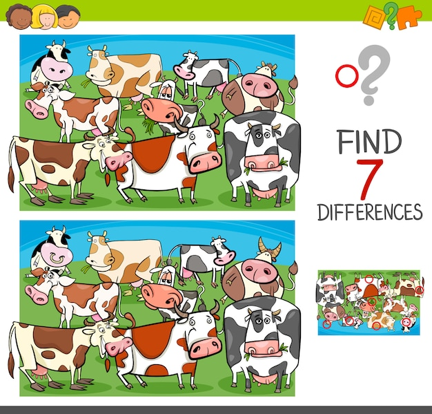 Trovare le differenze con i caratteri degli animali della fattoria delle mucche