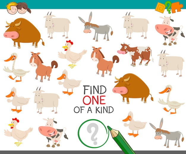 Trovare uno di un tipo con animali da fattoria
