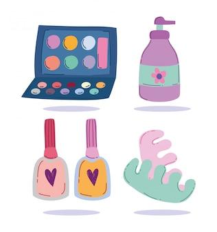 Trucco cosmetici prodotto moda bellezza ombretto tavolozza lozione smalto per unghie illustrazione vettoriale